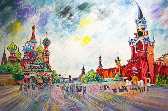 PLAZA ROJA (MOSCU). Huile sur toile. 97 x 146 x 3,5 cm.