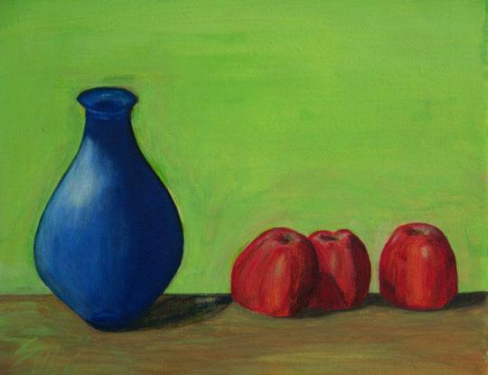 Studie: Blaue Flasche mit roten Äpfeln, Mai 2011