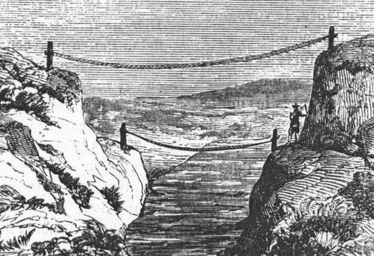 Desgodins (1826-1913), La mission du Thibet de 1855 à 1870. Ponts de corde.