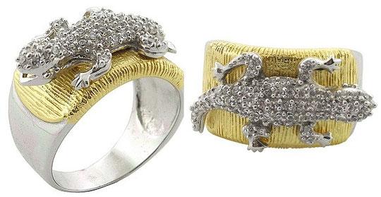 """Кольцо """"ЯЩЕРИЦА"""" из серебра 925-ой пробы с 22-х каратным покрытием позолотой и прозрачными топазами."""