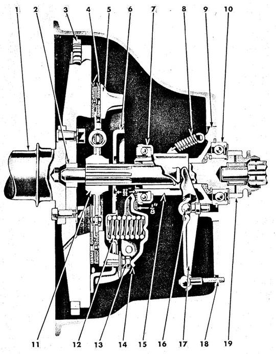 Schnittzeichung durch Schwungrad, Kupplung und Getriebe