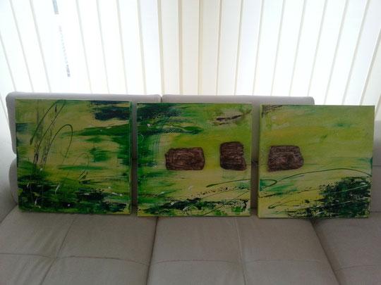 Acrylbild in grün, mit Keramik und Draht, 3 teilig