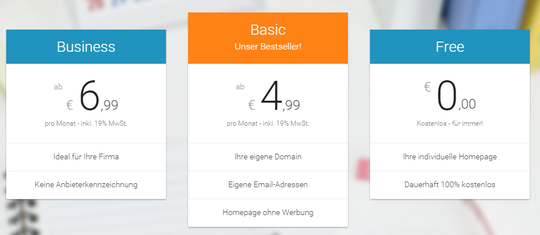 Webvisitenkarte Preisübersicht