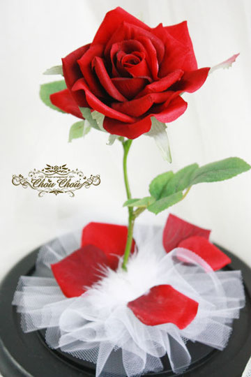 美女と野獣 薔薇 ガラスドーム 造花 プロポーズ ディズニー
