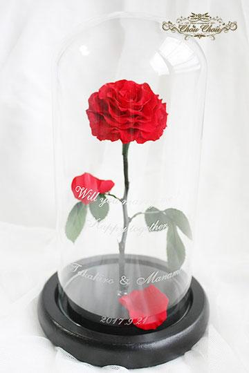 プロポーズ 赤薔薇 美女と野獣 一輪の薔薇 ガラスドーム  魔法の薔薇 オーダーフラワー シュシュ chouchou