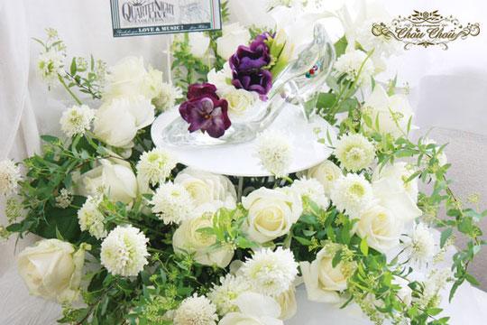 楽屋花 スタンド花 ステージ イベント 舞台 ガラスの靴 生花 プリザーブドフラワー 造花