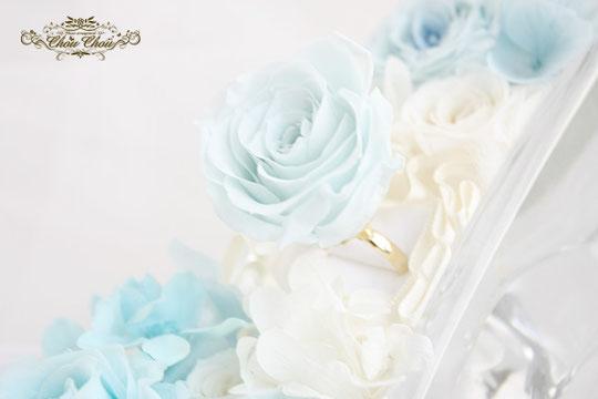 ディズニー  プロポーズ ガラスの靴 シンデレラ プリザーブドフラワー プロポーズ リング フラワーリング  リングケース リングピロー 薔薇 オーダーフラワー シュシュ chouchou 舞浜花屋