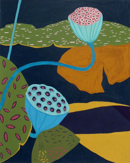 Lotus A2.gouache sur papier.30x24 cm. 2012.