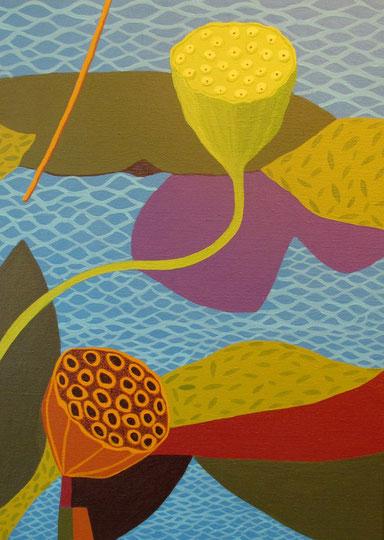 Lotus A5.Acrylique sur toile.8P (46x33 cm). 2012.