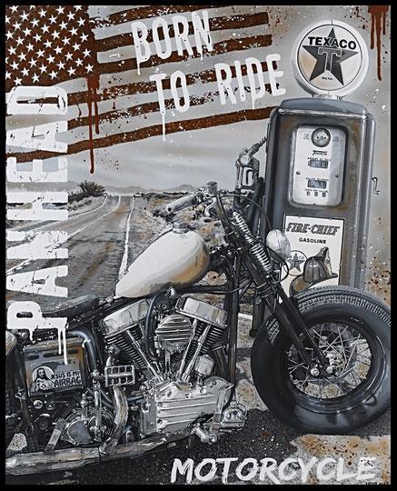 """"""" BORN TO RIDE """" acrylique sur toile de lin  81 x 100 cm"""