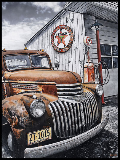 """ RUSTY PICK-UP ""  Acrylic Painting on Canvas   81 x 100 cm"