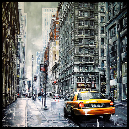 """ DARK STREET' S NY ""   Acrylic Painting on Canvas  100 x 100 cm"