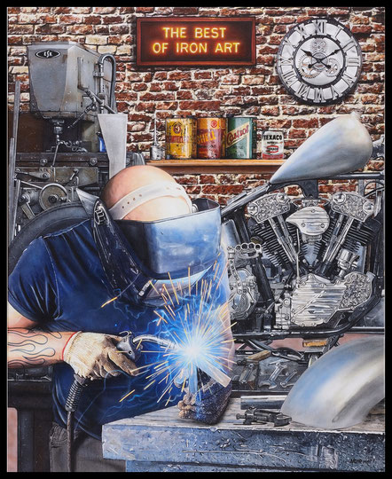 """ IRON ART "" Acrylic Painting on Canvas   81 x 100 cm"