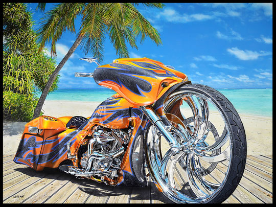 """"""" BAGGER ON THE BEACH """" acrylique sur toile de lin  89 x 116 cm"""