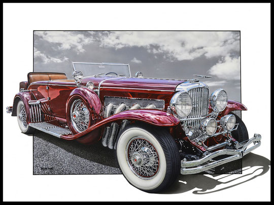 """ DUESENBERG 1933 ""  Acrylic Painting on Canvas   81 x 100 cm"