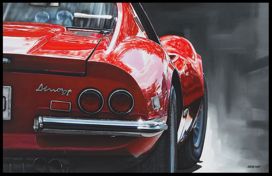 """ FERRARI DINO "" Acrylic Painting on Canvas  65 x 100 cm"