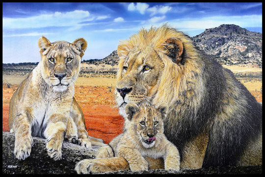 """ THE FAMILY ""   Acrylic Painting on Canvas   81 x 130 cm"