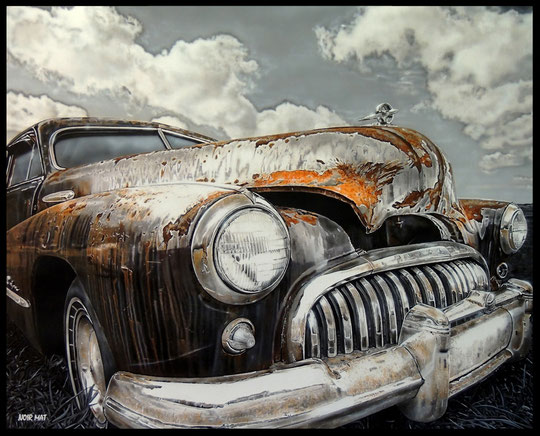 """ RUSTY BUICK ""  Acrylic Painting on Canvas   81 x 100 cm"