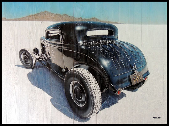 """ HOT ROD BONNEVILLE ""  Acrylic Painting on Wood   81 x 100 cm"