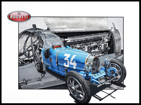 """ BUGATTI TYPE 35 ""  Acrylic Painting on Canvas   81 x 100 cm"