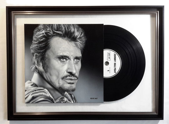 """ JOHNNY HALLYDAY ""  Acrylic Painting on Vinyl   61,5 x 98,5 cm"