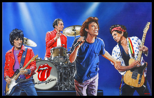 """ THE ROLLING STONES "" Acrylic Painting on Canvas   73 x 116 cm"