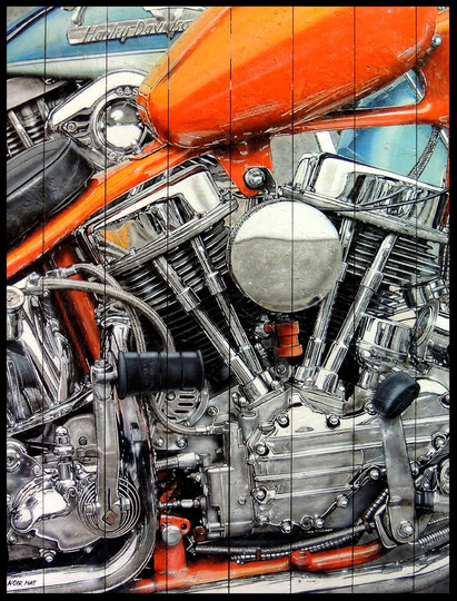 """"""" PANHEAD II """" acrylique sur planches de bois 89 x 116 cm"""