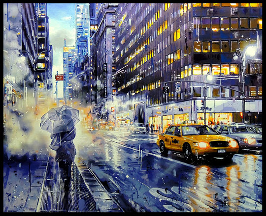 """ NEW YORK NIGHT ""  Acrylic Painting on Canvas   81 x 100 cm"