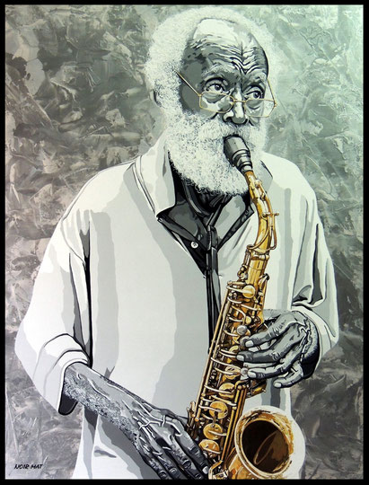 """ JAZZMAN ""    Acrylic Painting on Canvas  89 x 116 cm"