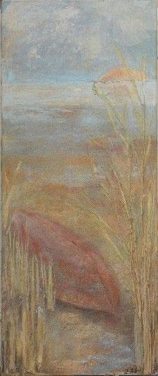 Kieloben 1 Wesermarsch, 2003 _____ 120x50 Acryl, Papier, Sand, Gräser auf Leinwand