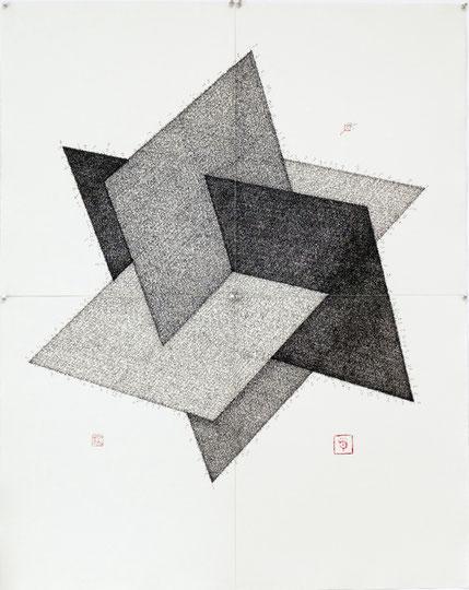 Meditationen; Tusche auf Bütten (ink on paper); 96 x 120 cm, 4-teilig; 2015