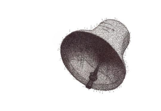 Die Glocke; Tusche auf Bütten, Handschrift / Handwriting,  (Ink on paper);  54 x 78,5 cm; 2012