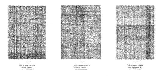 Philosophieren heißt sterben lernen / Philosophize is learning to die; Tusche auf Bütten, Handschrift / Handwriting,  (Ink on paper); 90 x 40 cm; 2004