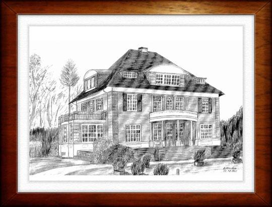 Kath. Pfarrhaus, HH- Rahlstedt   Bleistiftzeichnung  42 x30 cm