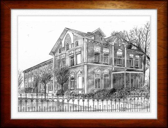 Haus am Rahlstedter Dorfplatz (Vorderseite) - Hamburg    Bleistiftzeichnung  42 x30 cm