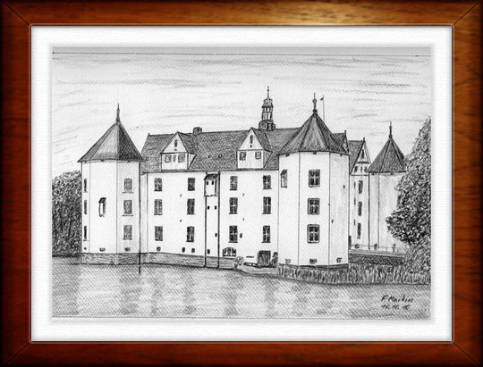 Schloß Glücksburg 2   Bleistiftzeichnung  42 x30 cm