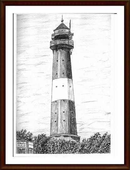 Leuchtturm Hörnum - Sylt   Bleistiftzeichnung   42 x 30 cm