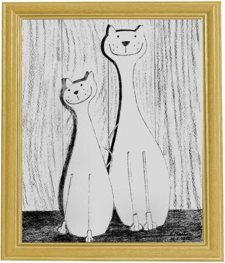 Unsere Hauskatzen    Bleistiftzeichnung  30 x 42 cm