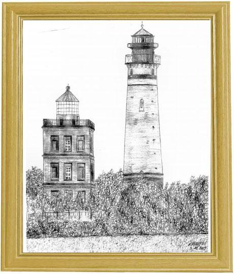 Leuchtturm Kap Arkona (Rügen)   Bleistiftzeichnung   42 x 30 cm
