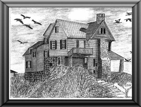 Haus Kranichrast (Fantasie)  Bleistiftzeichnung  42 x30 cm