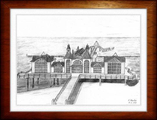 Seebrücke Sellin - Rügen   Bleistiftzeichnung   42 x 30 cm