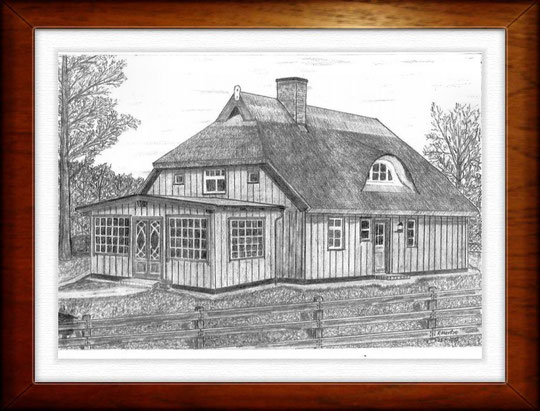 Haus auf dem Darss 1    Bleistiftzeichnung   42 x30 cm
