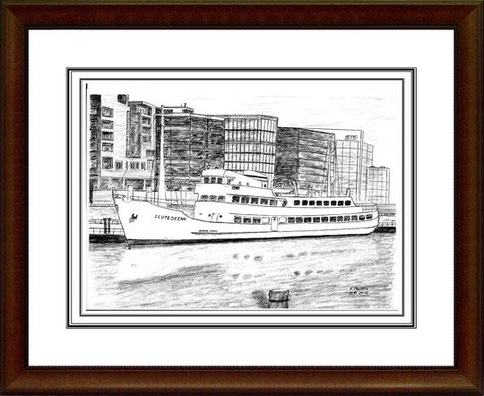 Seebäderschiff Seute Deern  Bleistiftzeichnung 42x30 cm