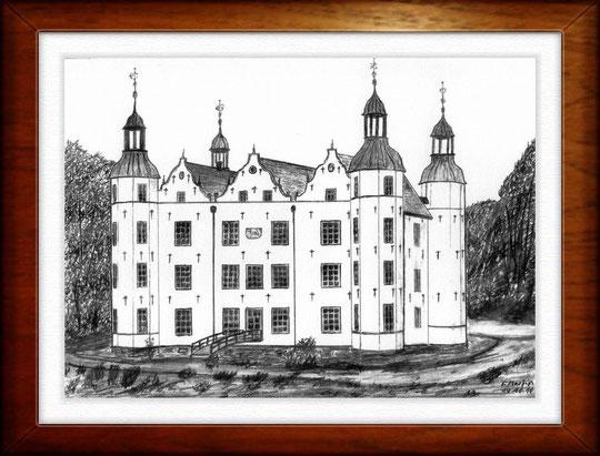Schloß Ahrensburg   Bleistiftzeichnung  42 x30 cm