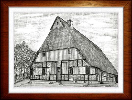 Bauernhaus II  Museumsdorf Molfsee  Bleistiftzeichnung 32 x24 cm