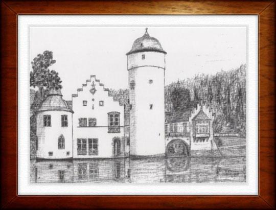 Schloß Mespelbrunn   Bleistiftzeichnung  42 x30 cm