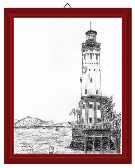 Leuchtturm Lindau (Bodensee)   Bleistiftzeichnung   42 x 30 cm