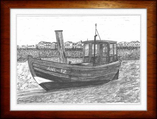 Am Strand von Heringsdorf (Usedom)   Bleistiftzeichnung   42 x 30 cm