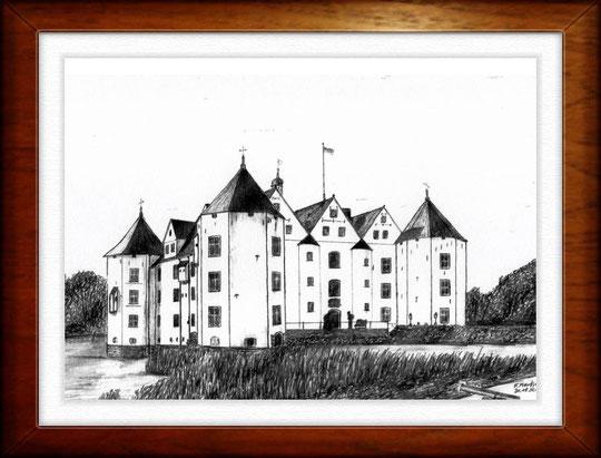 Schloß Glücksburg 1   Bleistiftzeichnung  42 x30 cm