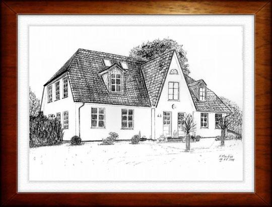 Hof Kluptow - Rügen  Bleistiftzeichnung  42 x30 cm